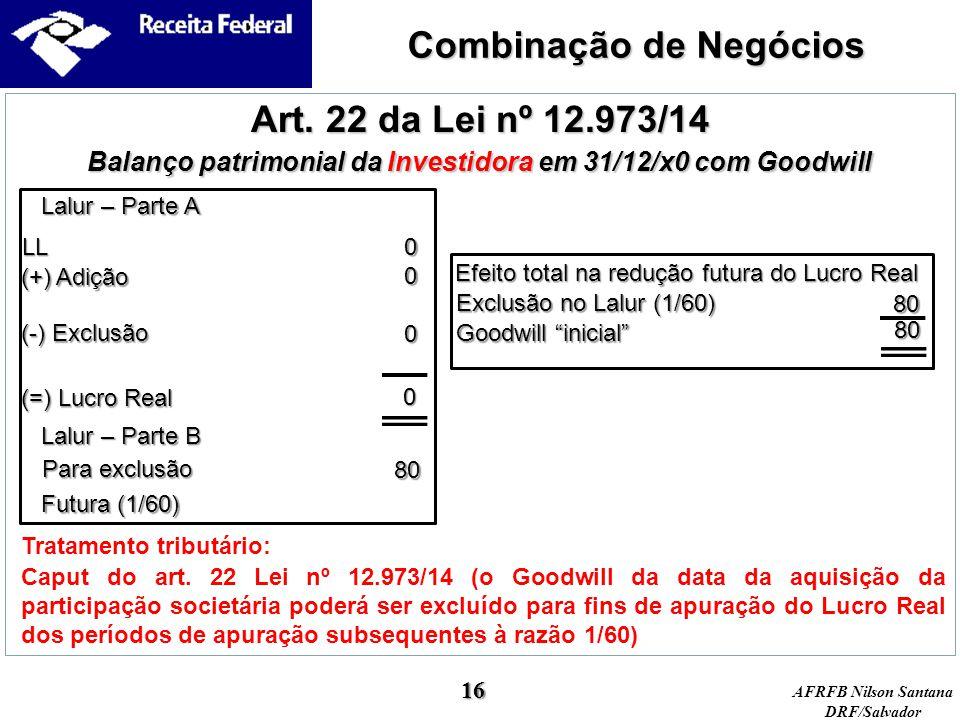 Combinação de Negócios Art. 22 da Lei nº 12.973/14