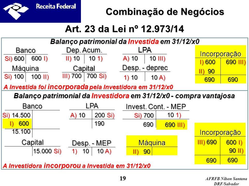 Combinação de Negócios Art. 23 da Lei nº 12.973/14