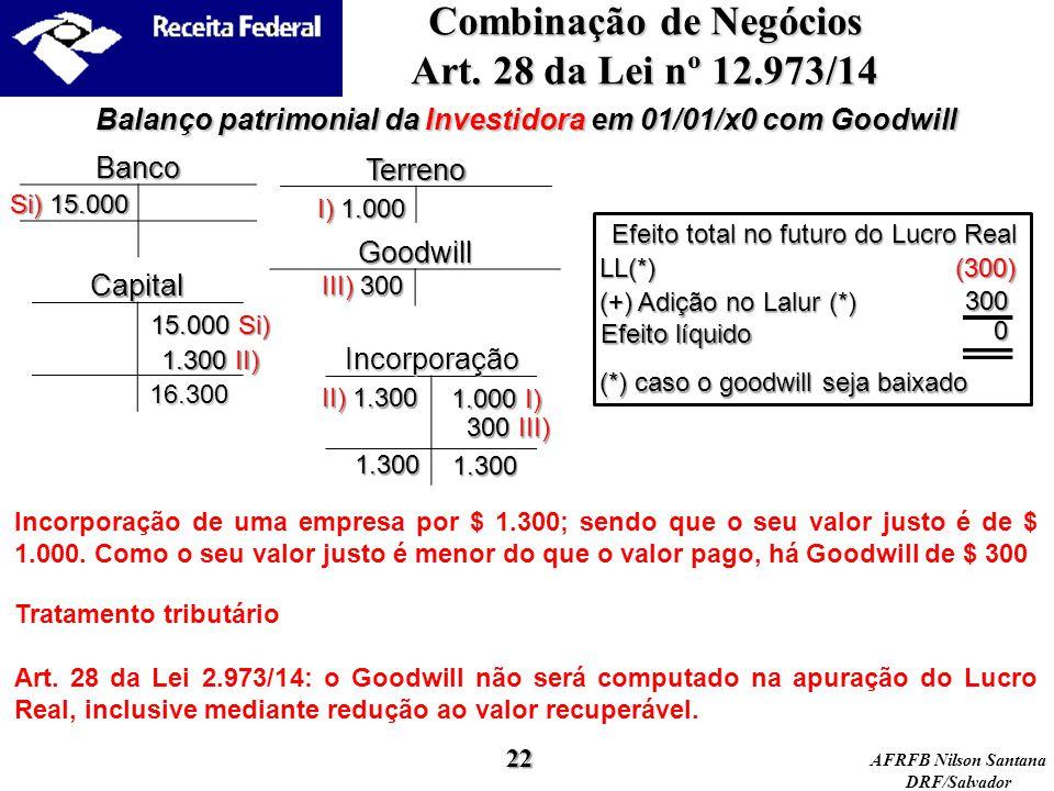 Combinação de Negócios Art. 28 da Lei nº 12.973/14