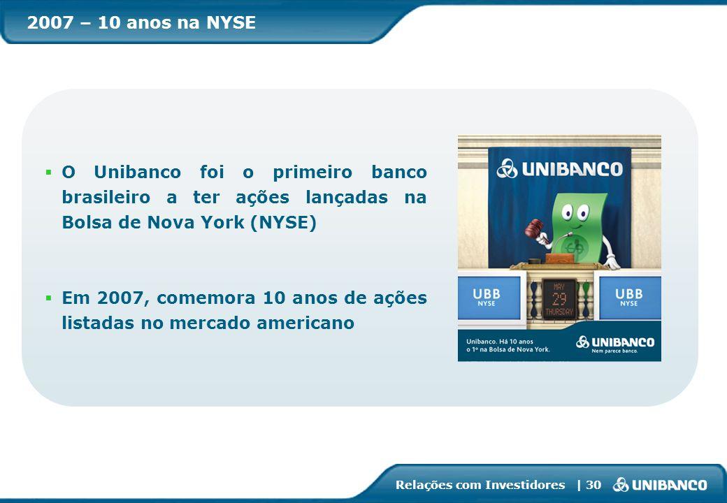 2007 – 10 anos na NYSEO Unibanco foi o primeiro banco brasileiro a ter ações lançadas na Bolsa de Nova York (NYSE)