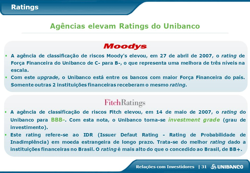 Agências elevam Ratings do Unibanco