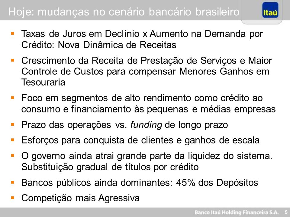 Hoje: mudanças no cenário bancário brasileiro