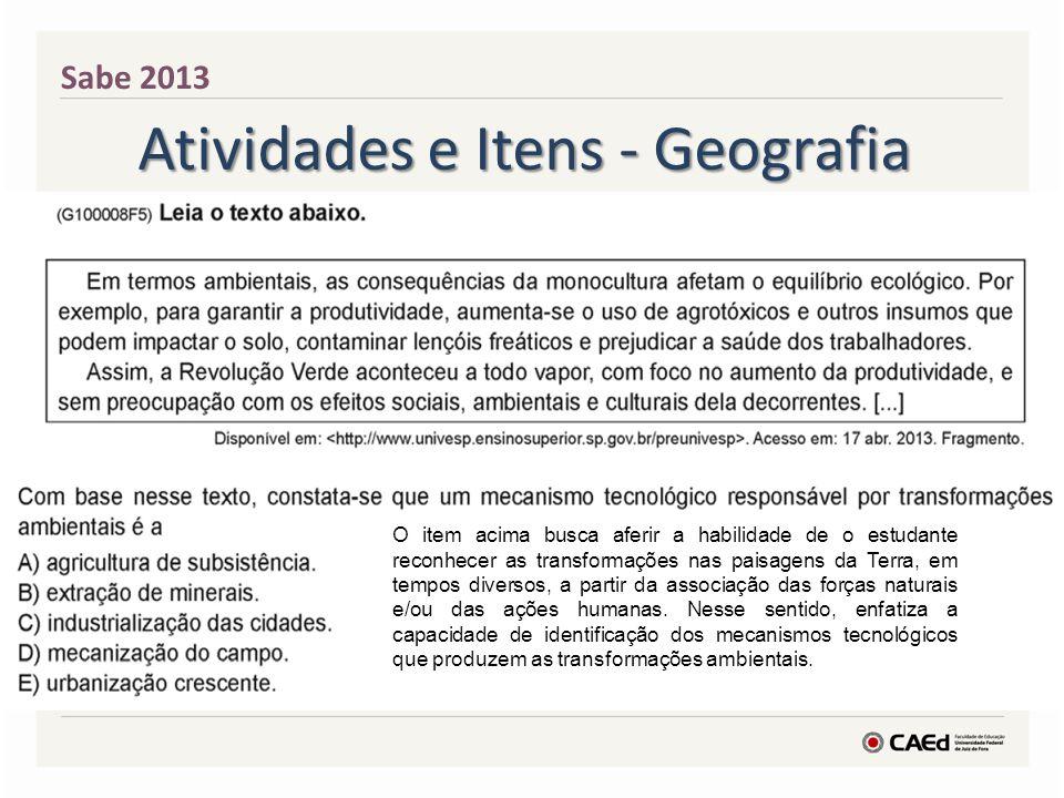 Atividades e Itens - Geografia