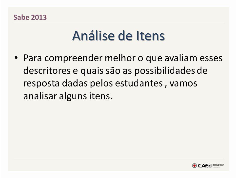 Sabe 2013 Análise de Itens.