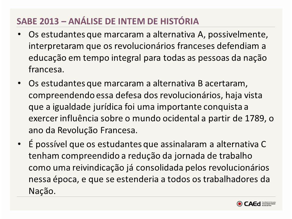 SABE 2013 – ANÁLISE DE INTEM DE HISTÓRIA