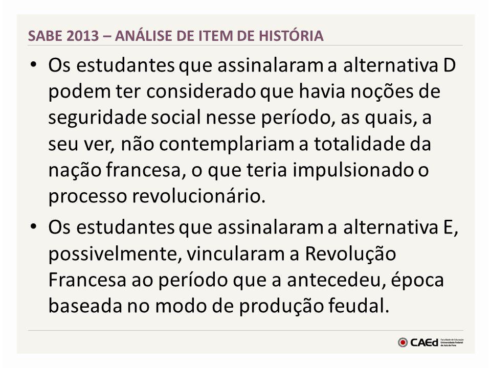 SABE 2013 – ANÁLISE DE ITEM DE HISTÓRIA