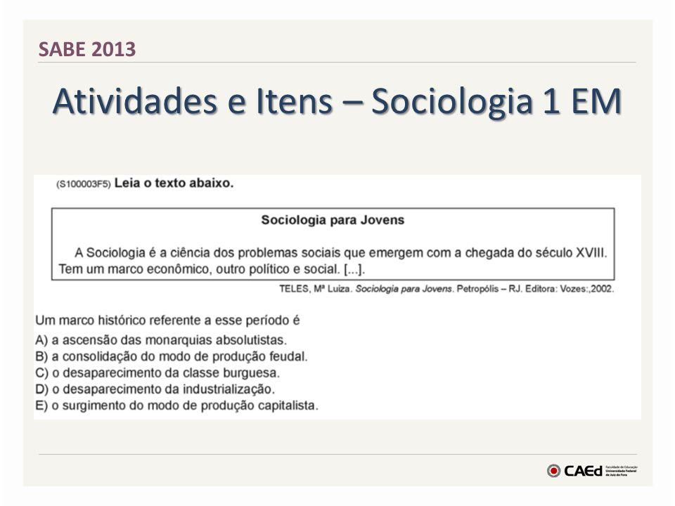 Atividades e Itens – Sociologia 1 EM