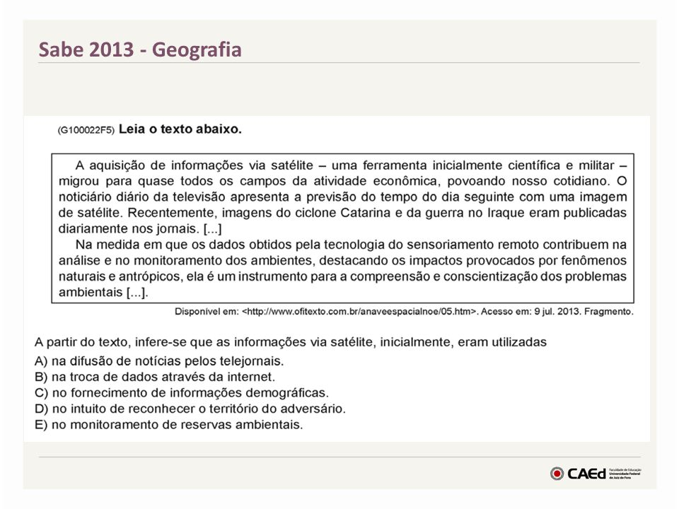 Sabe 2013 - Geografia