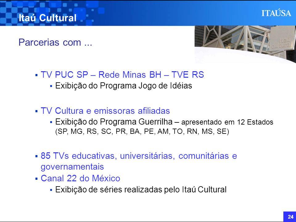 Itaú Cultural Parcerias com ... TV PUC SP – Rede Minas BH – TVE RS