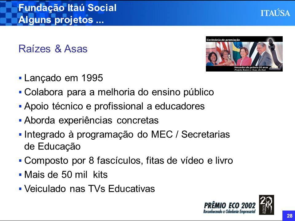 Raízes & Asas Fundação Itaú Social Alguns projetos ... Lançado em 1995