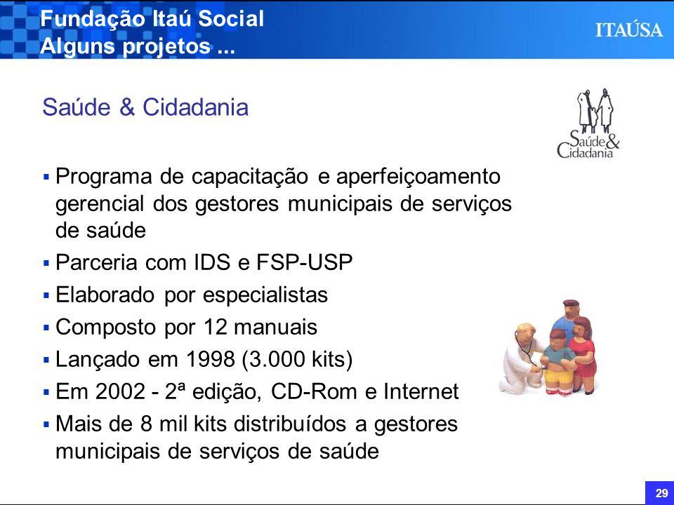 Saúde & Cidadania Fundação Itaú Social Alguns projetos ...