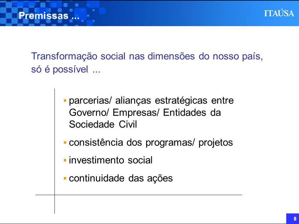 Premissas ... Transformação social nas dimensões do nosso país, só é possível ...