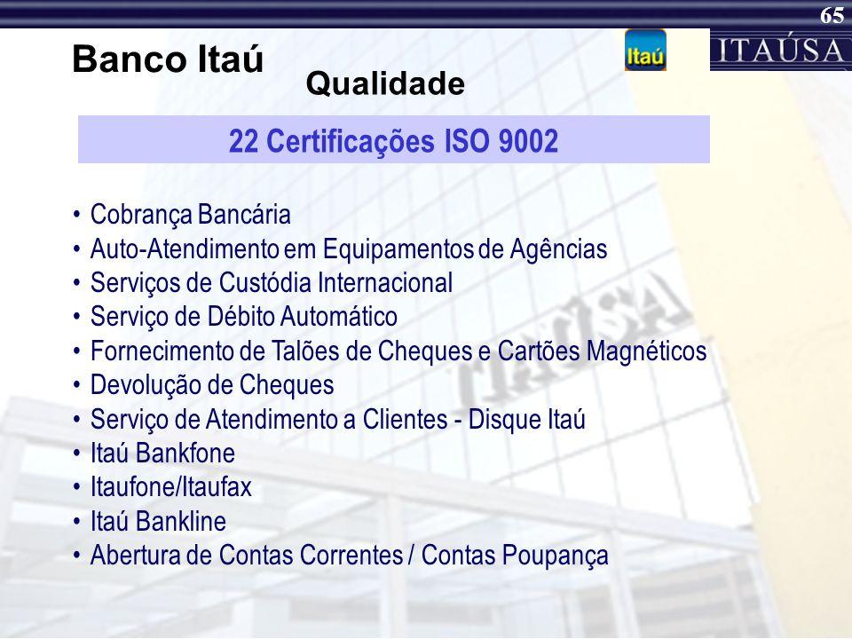 Banco Itaú Qualidade 22 Certificações ISO 9002 Cobrança Bancária