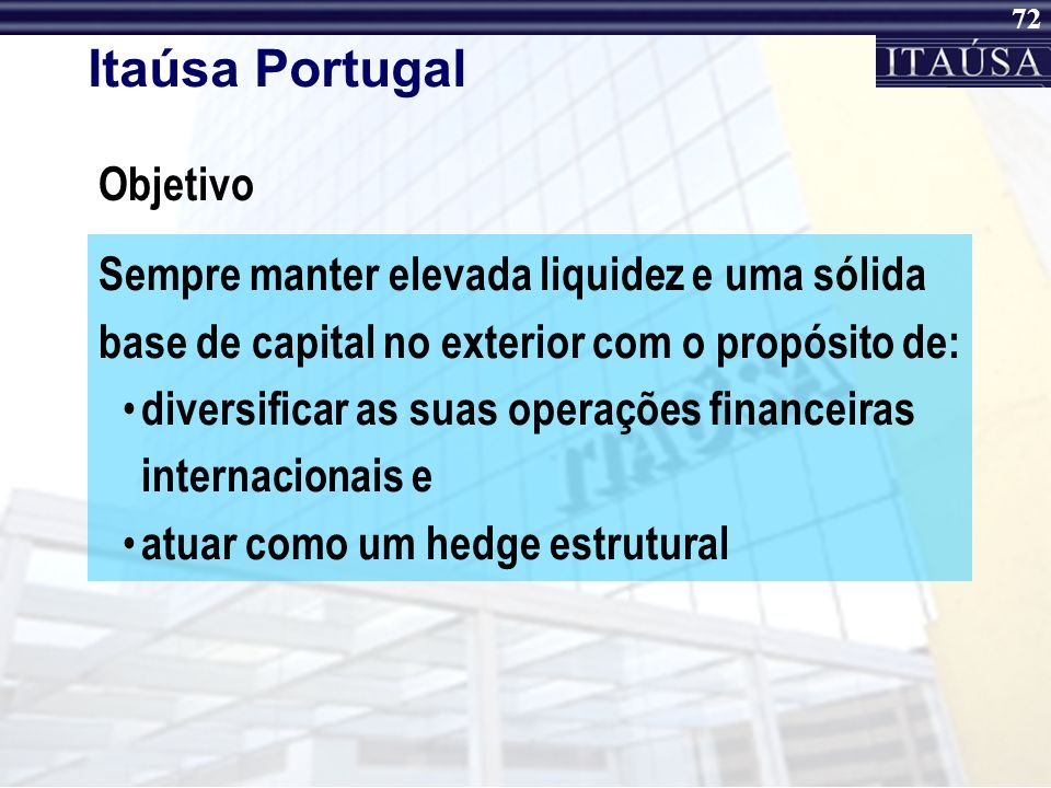 Itaúsa Portugal Objetivo