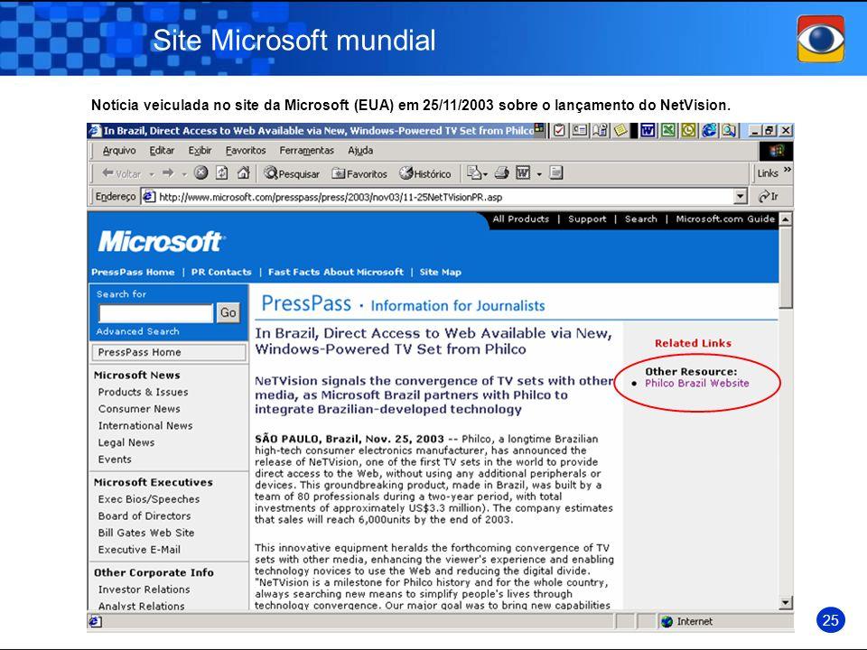 Site Microsoft mundial
