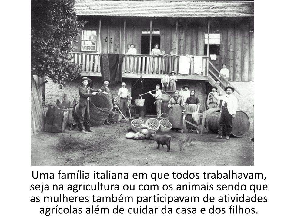 Uma família italiana em que todos trabalhavam, seja na agricultura ou com os animais sendo que as mulheres também participavam de atividades agrícolas além de cuidar da casa e dos filhos.