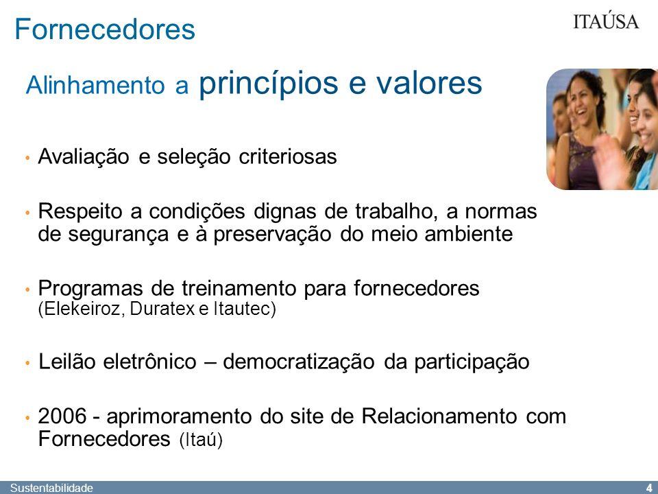 Fornecedores Alinhamento a princípios e valores