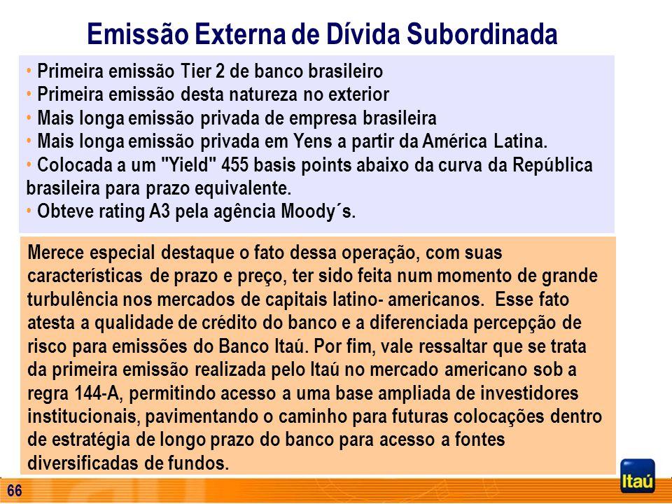Emissão Externa de Dívida Subordinada