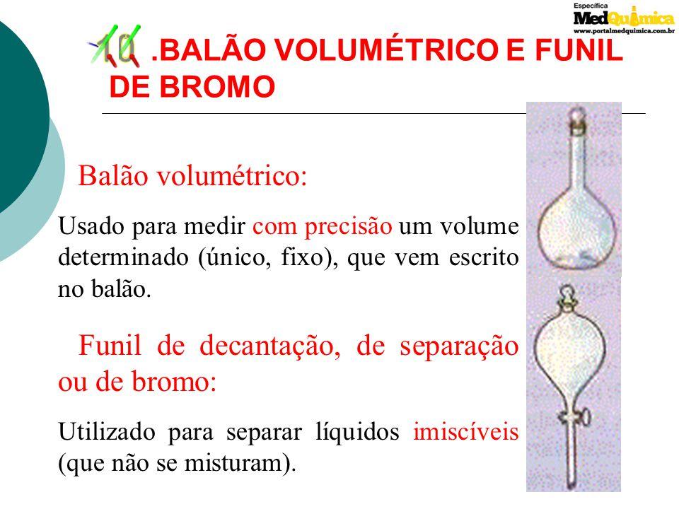 10 .BALÃO VOLUMÉTRICO E FUNIL DE BROMO