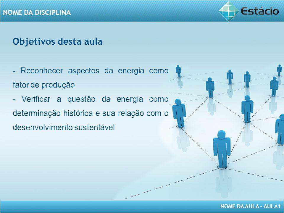 Objetivos desta aula - Reconhecer aspectos da energia como fator de produção.