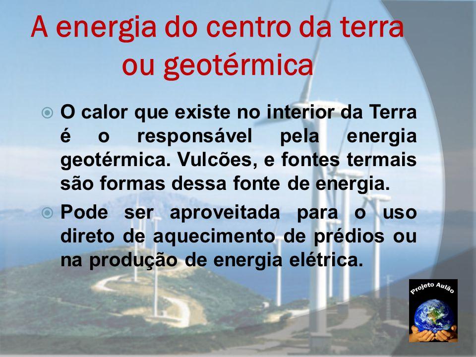 A energia do centro da terra ou geotérmica