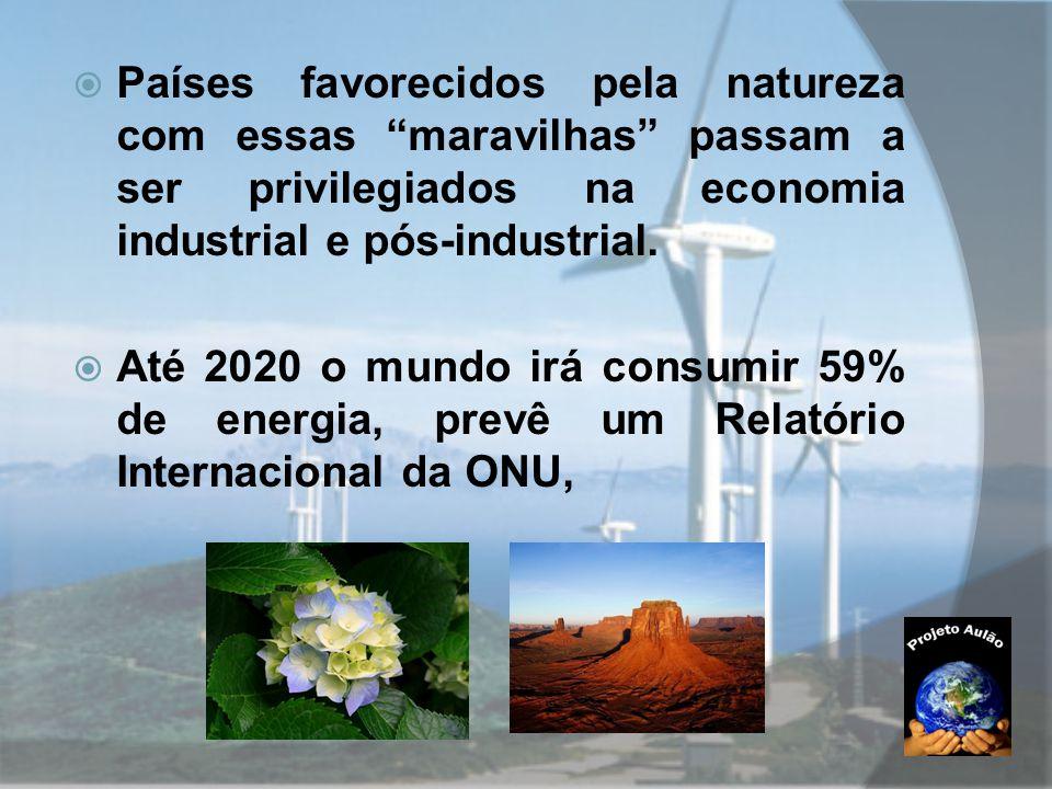 Países favorecidos pela natureza com essas maravilhas passam a ser privilegiados na economia industrial e pós-industrial.