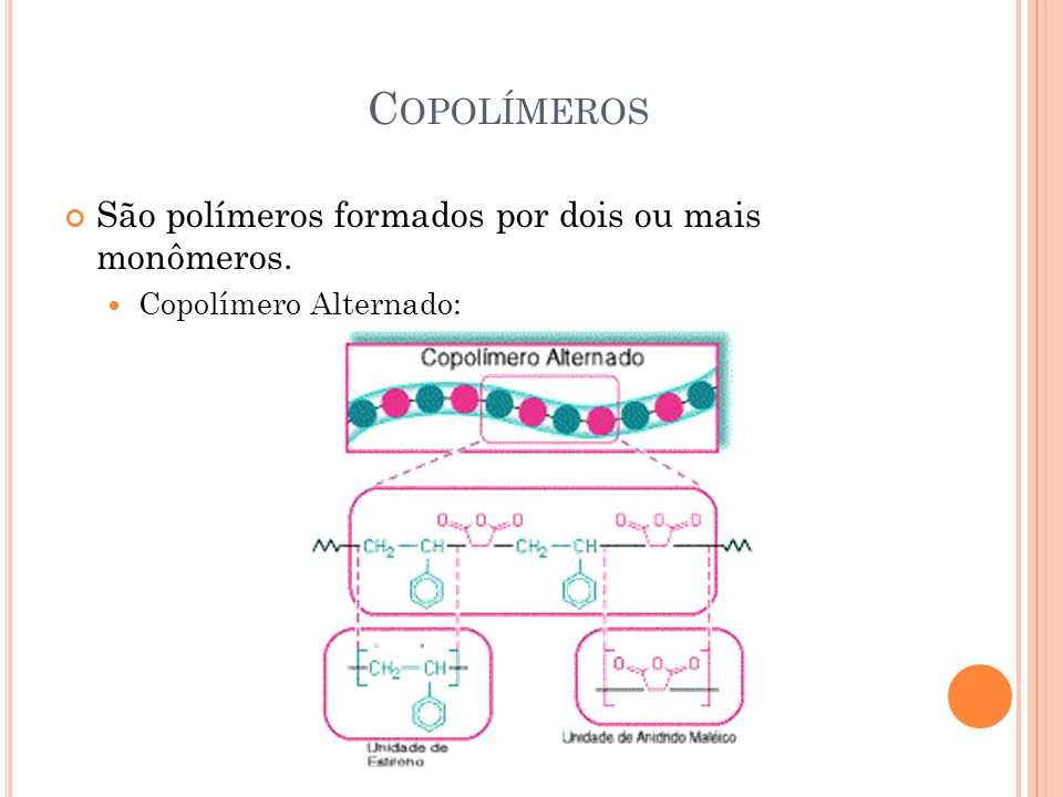 Copolímeros São polímeros formados por dois ou mais monômeros.