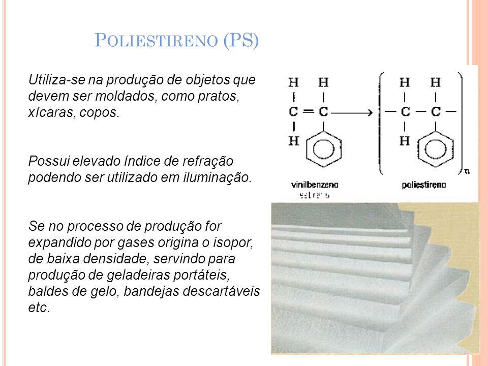 Poliestireno (PS) Utiliza-se na produção de objetos que devem ser moldados, como pratos, xícaras, copos.