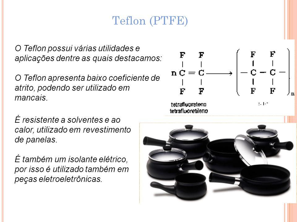 Teflon (PTFE) O Teflon possui várias utilidades e
