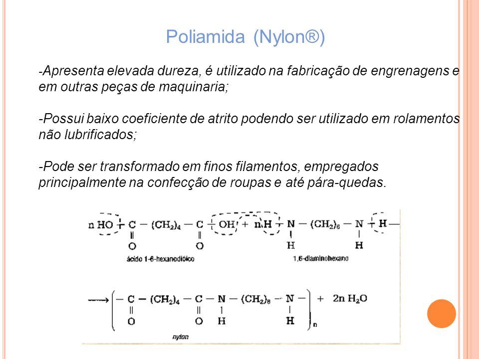 Poliamida (Nylon®) -Apresenta elevada dureza, é utilizado na fabricação de engrenagens e em outras peças de maquinaria;