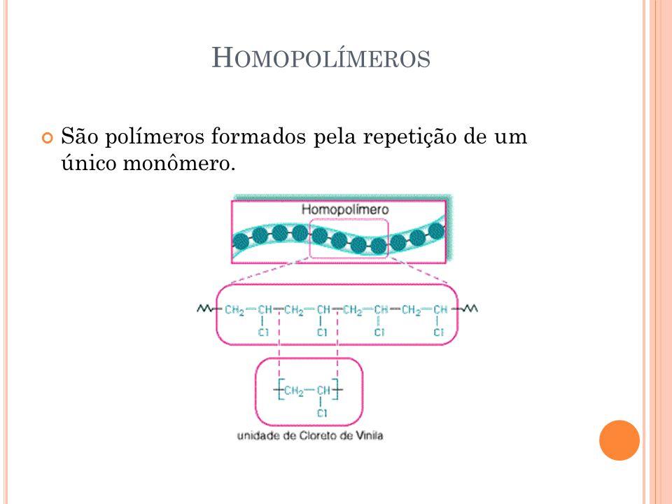 Homopolímeros São polímeros formados pela repetição de um único monômero.