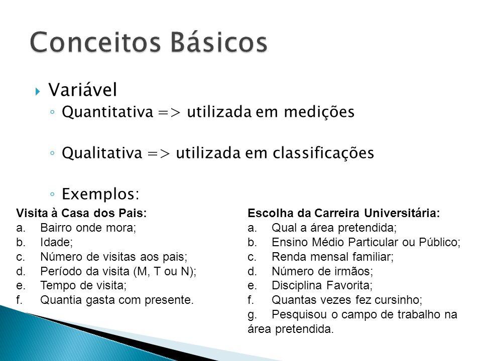 Conceitos Básicos Variável Quantitativa => utilizada em medições