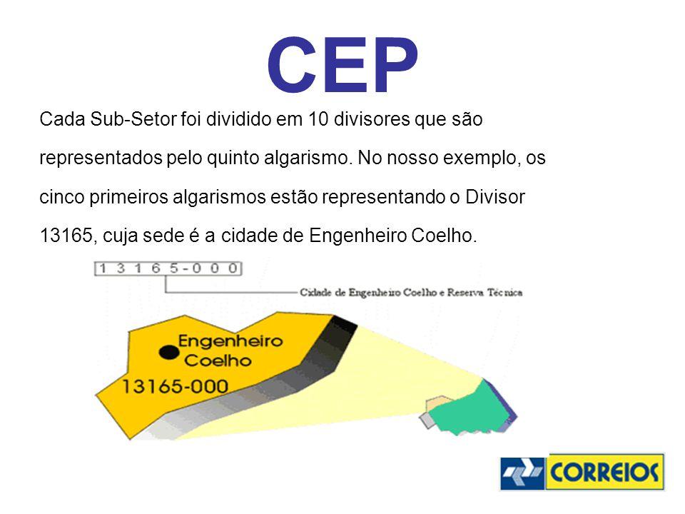 CEP Cada Sub-Setor foi dividido em 10 divisores que são
