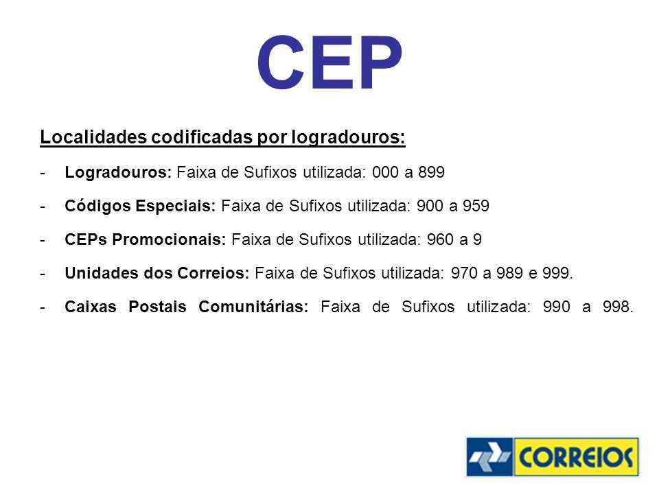 CEP Localidades codificadas por logradouros: