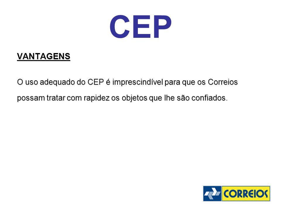 CEP VANTAGENS. O uso adequado do CEP é imprescindível para que os Correios.