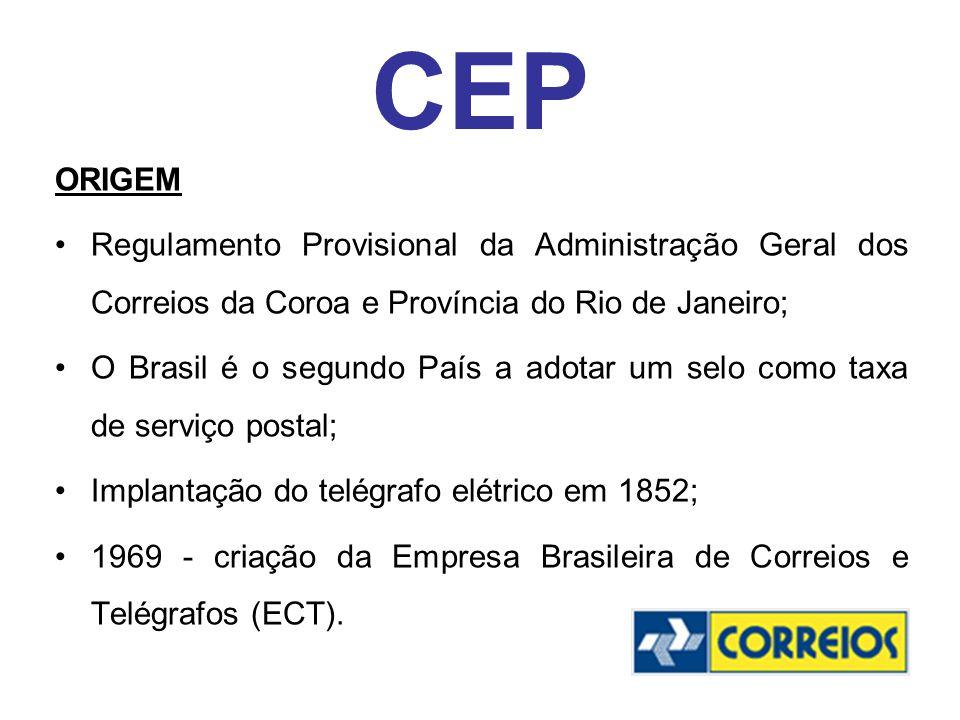 CEP ORIGEM. Regulamento Provisional da Administração Geral dos Correios da Coroa e Província do Rio de Janeiro;