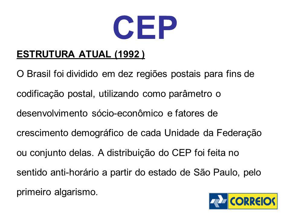 CEP ESTRUTURA ATUAL (1992 ) O Brasil foi dividido em dez regiões postais para fins de. codificação postal, utilizando como parâmetro o.