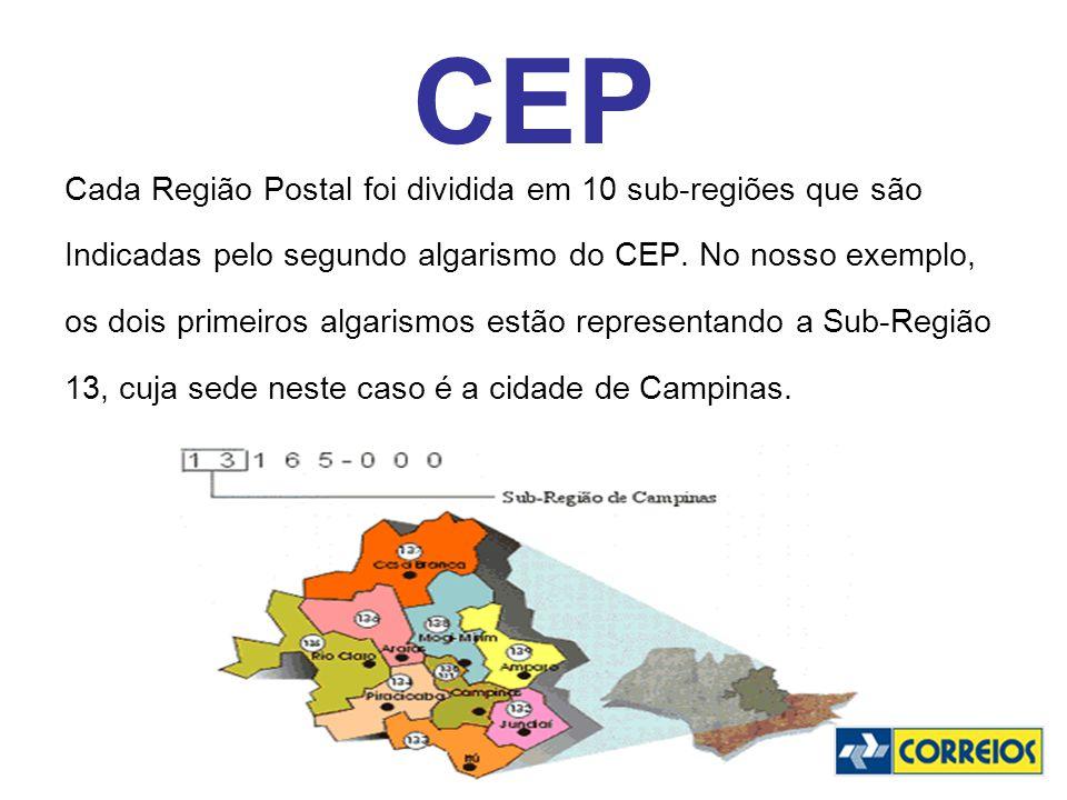 CEP Cada Região Postal foi dividida em 10 sub-regiões que são