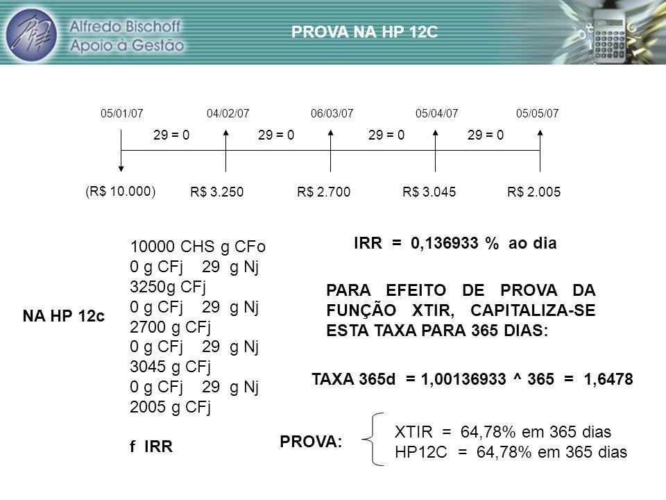PROVA NA HP 12C IRR = 0,136933 % ao dia 10000 CHS g CFo