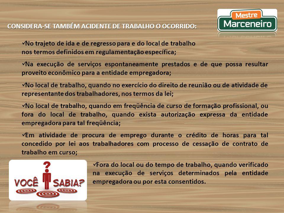 CONSIDERA-SE TAMBÉM ACIDENTE DE TRABALHO O OCORRIDO: