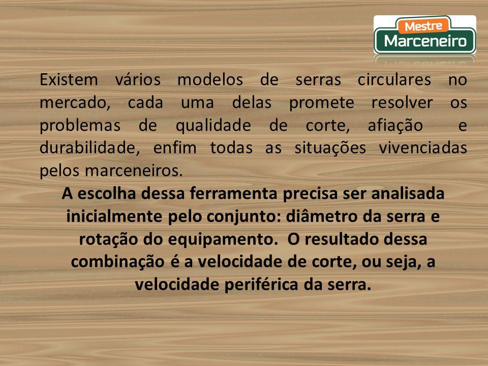Existem vários modelos de serras circulares no mercado, cada uma delas promete resolver os problemas de qualidade de corte, afiação e durabilidade, enfim todas as situações vivenciadas pelos marceneiros.