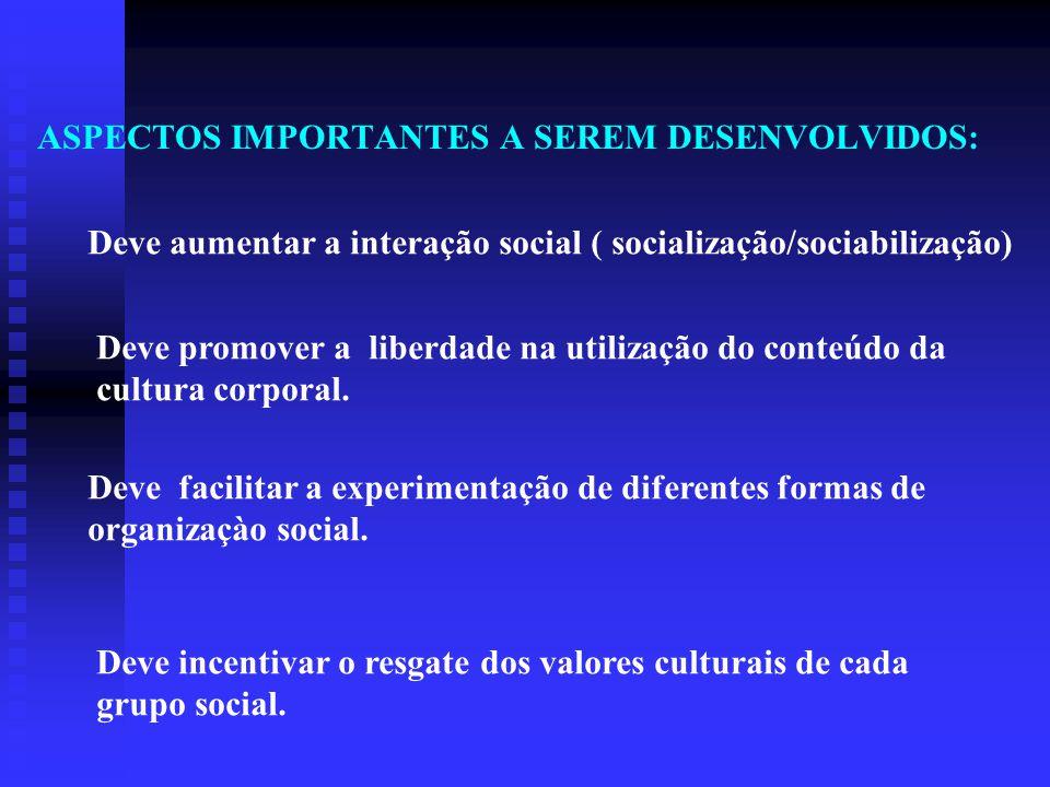 ASPECTOS IMPORTANTES A SEREM DESENVOLVIDOS: