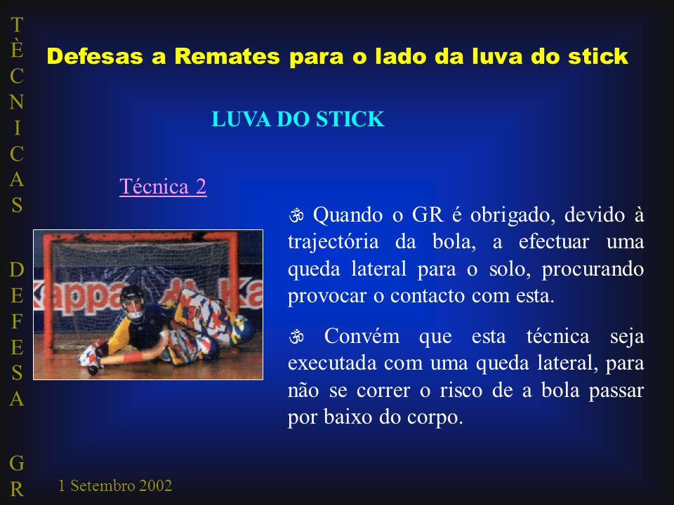 Defesas a Remates para o lado da luva do stick
