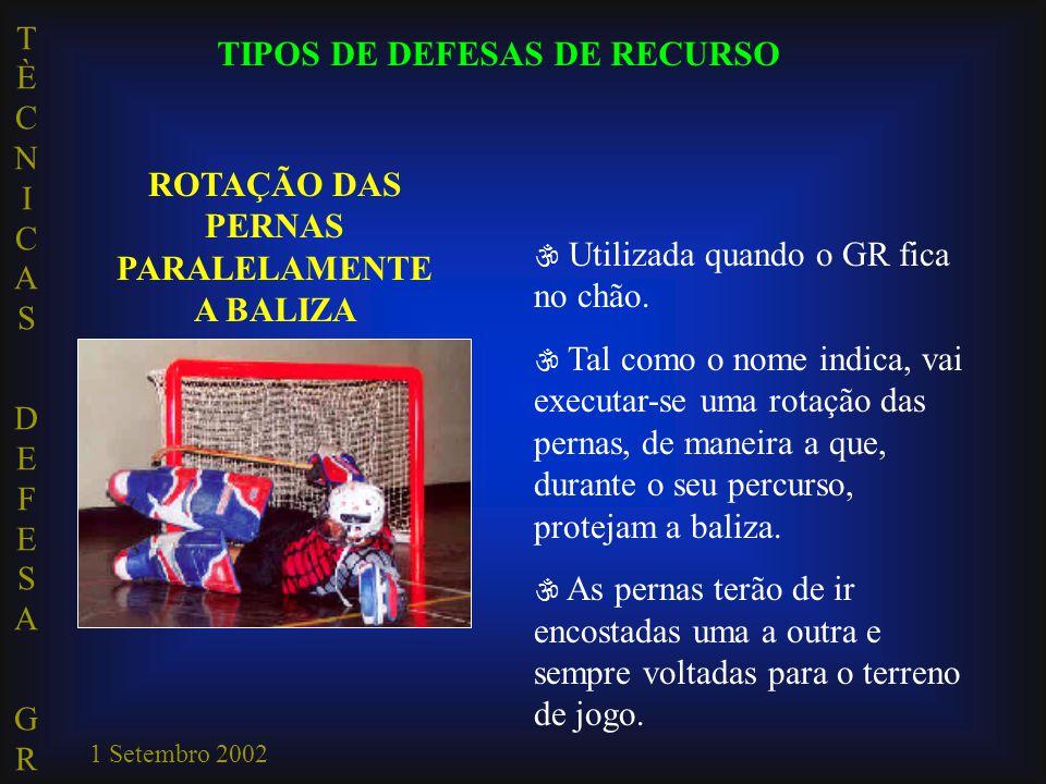 TIPOS DE DEFESAS DE RECURSO ROTAÇÃO DAS PERNAS PARALELAMENTE A BALIZA