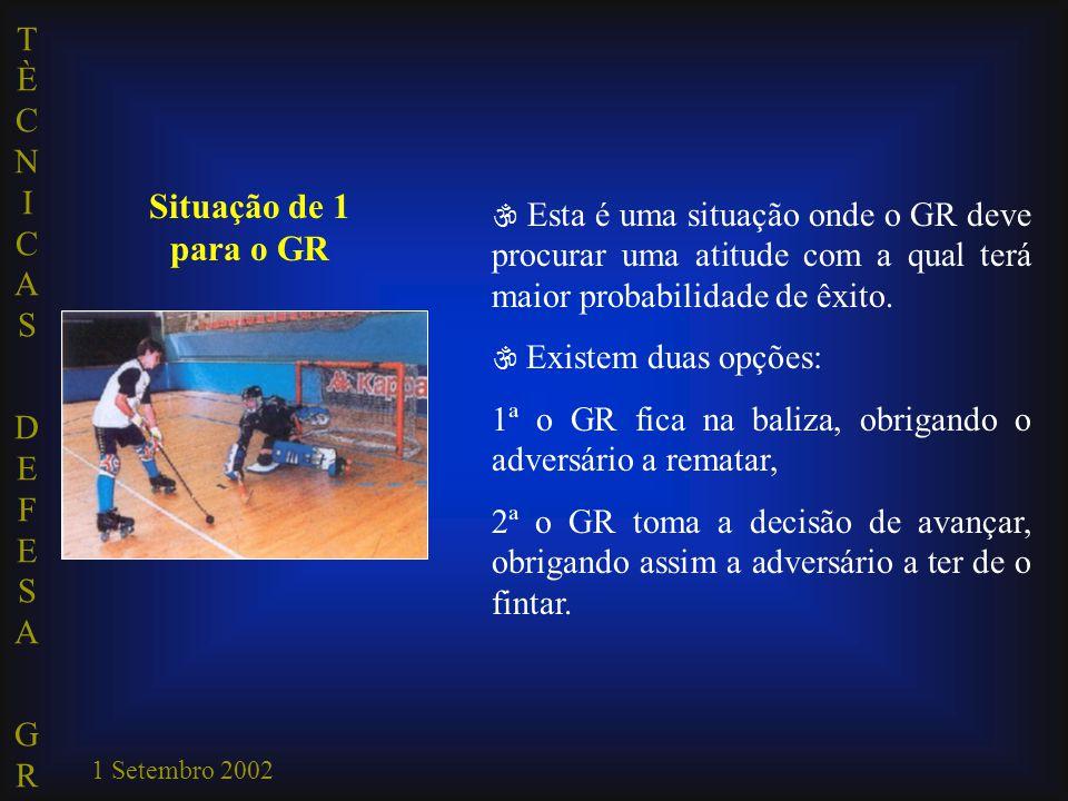 Situação de 1 para o GR  Esta é uma situação onde o GR deve procurar uma atitude com a qual terá maior probabilidade de êxito.