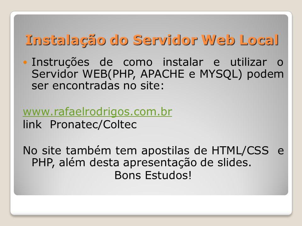 Instalação do Servidor Web Local