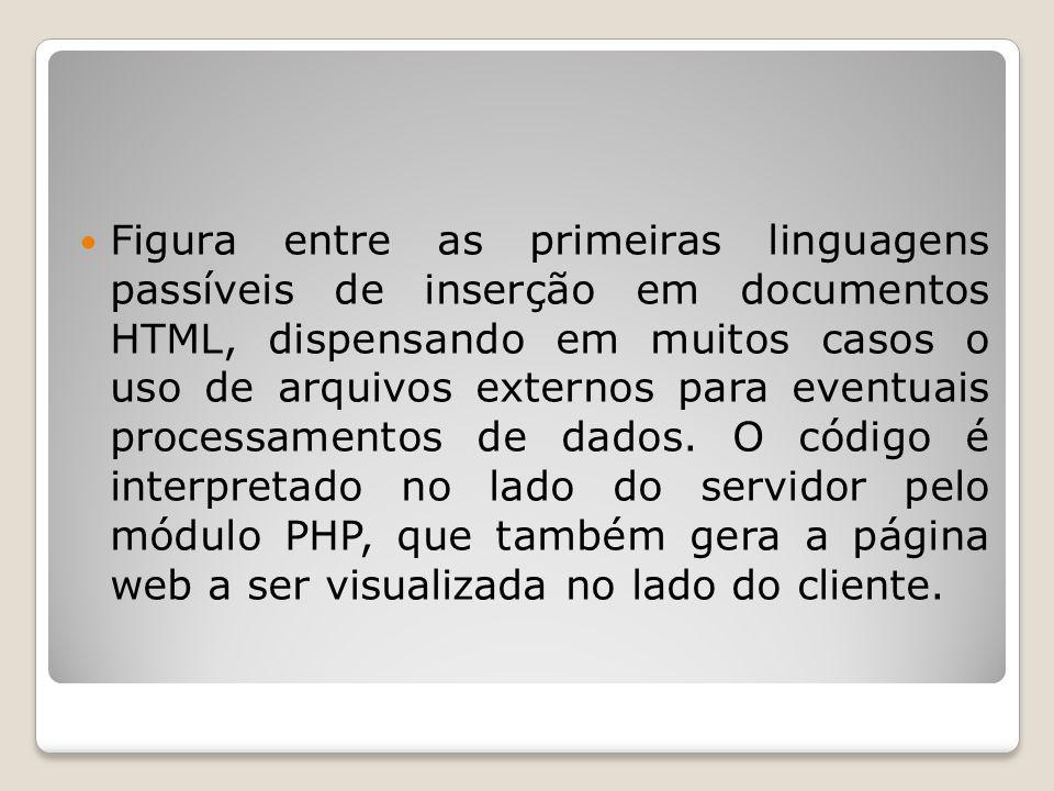 Figura entre as primeiras linguagens passíveis de inserção em documentos HTML, dispensando em muitos casos o uso de arquivos externos para eventuais processamentos de dados.