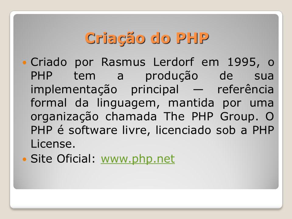 Criação do PHP