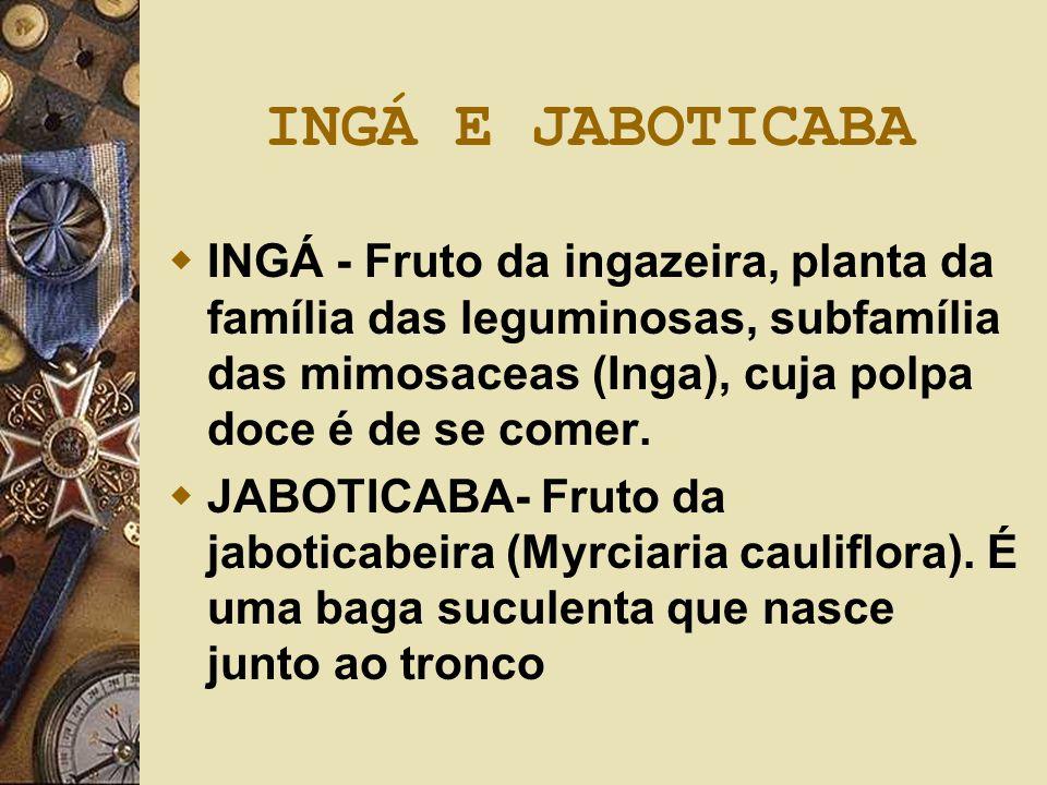INGÁ E JABOTICABA INGÁ - Fruto da ingazeira, planta da família das leguminosas, subfamília das mimosaceas (Inga), cuja polpa doce é de se comer.