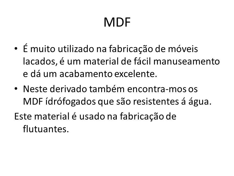 MDF É muito utilizado na fabricação de móveis lacados, é um material de fácil manuseamento e dá um acabamento excelente.